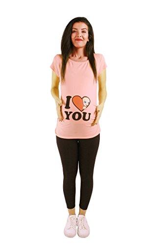 M.M.C. I Love You - Lustige witzige süße Umstandsmode/Umstandsshirt mit Motiv für die Schwangerschaft/T-Shirt Schwangerschaftsshirt, Kurzarm Lachsfarbe