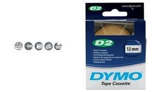 Etikettenband D2, 12mm breit, 10m lang, gelb