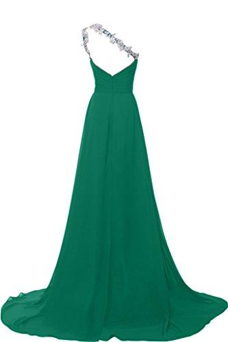Sunvary elegante Chiffon spalla con visiera Fodero vestito da sera, Donna Hunter Green