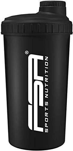 Protein Shaker 700 ml mit Messskala und Drehverschluss, für Diät- und Protein-Shakes, BPA frei von FSA Nutrition - Schwarz