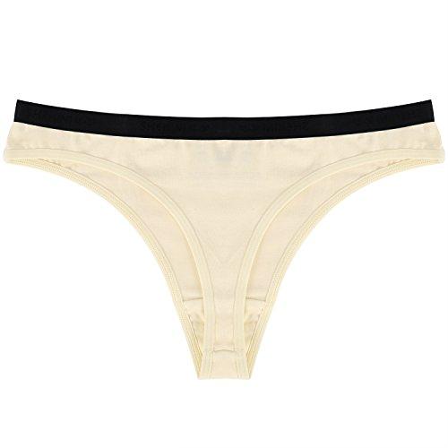 SHEKINI Women's Soft Cotton Thong Panties Knickers Briefs Underwear Lingerie Tanga 4 Multipack