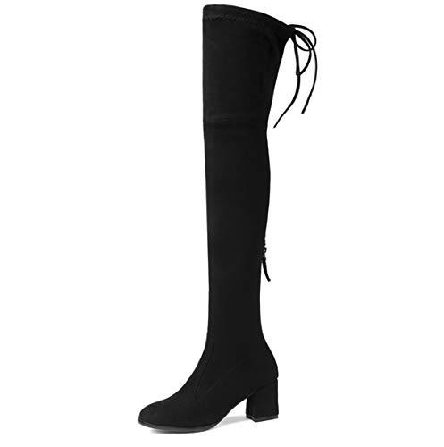 SERAPH Damen Schenkelhoch Dehnbar Langschaft Niedriger Blockabsatz Stiefel,Black,37EU