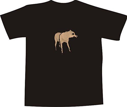 T-Shirt E573 Schönes T-Shirt mit farbigem Brustaufdruck Farbe nach Wahl XXL - Logo / Grafik - Comic Design - bissiger Hund / Wolf / Hyäne (T-shir Wolf)