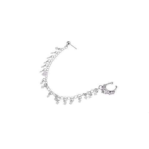 PcNew Design Sommer Stil Quaste Gefälschte und Bolzen Ohrring Kette Gold Hoop Gefälschte Septum Piercing Für Frauen Schmuck ()