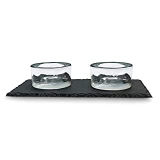 ARIANA HOMEWARE Natural Slate Tea Light/Tealight / Tea-light Candle Holder Set (Slate Board + 2 Candle Holders) Boxed