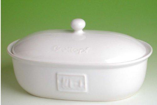 Brottopf oval weiß mit seitlichen Belüftungslöchern