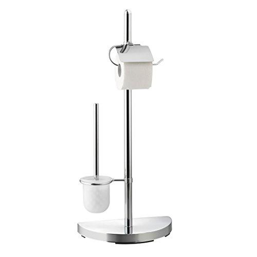 Ribelli WC-Garnitur verchromt mit Toilettenbürste mit Papierrollenhalter ca. 76 cm hoch - silberner WC Ständer Klobürste WC-Bürste mit Toilettenpapierhalter
