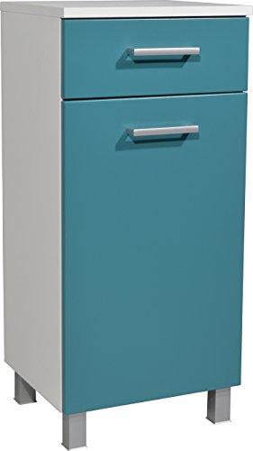 Élément bas avec porte, tiroir et tablette coloris blanc/petrol - L39 x H85 x P35 cm
