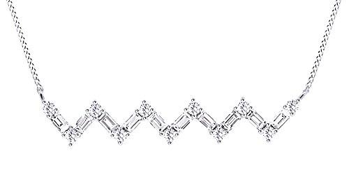 AFFY Herren Damen Unisex Kinder -  Gold 9 Karat (375)  10-Karat-Weißgold Rundschliff    Diamant  (Chevron Ohrringe Gold)