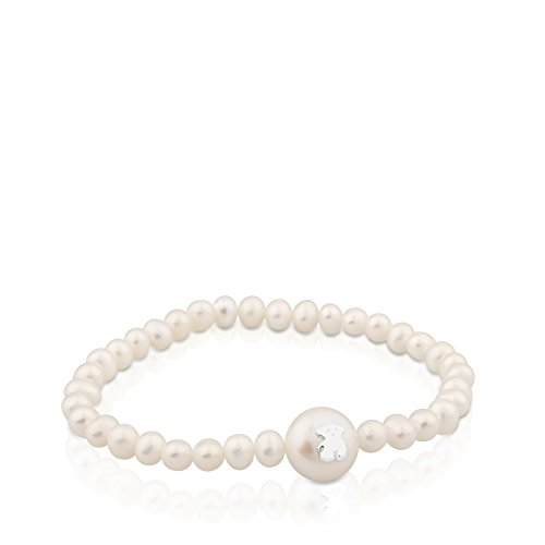Imagen de tous pulser mujer elástica de perlas con perla principal y motifo en plata de primera ley