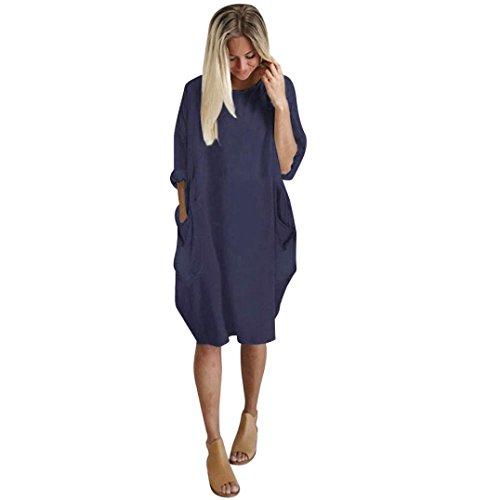 feiXIANG Frauen Mode Kleid Tasche Locker Kleid Damen Casual Lange Tops Kleid Shirtkleid Große Größe Ballkleid Damen Rundhalsausschnitt Langarm-Einfarbig Tasche Rock Kleid Basic (XL, Marine)
