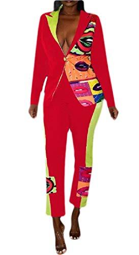 dahuo Damen Langarm-Blazerjacke, Blumenmuster, Lange Hose, 2-teiliges Anzug-Set Gr. US XL, rot
