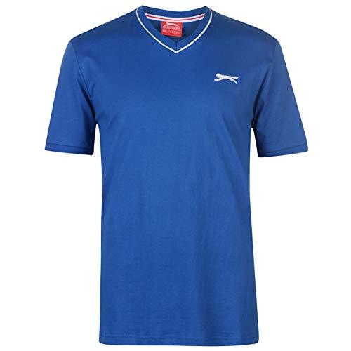 Blau Gestreiftes T-shirt Top (Slazenger Herren V-Ausschnitt T Shirt Kurzarm Tee Top Bekleidung Blau XXXXL)