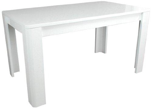 Phoenix 615503WE Hochglanz Esstisch mit L-Füssen Prana, 160 x 74 x 90 cm, weiß