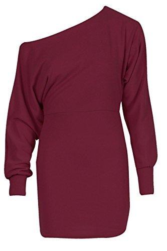 RE TECH UK Donna donna maniche lunghe Spalla Scoperta con risvolto Ponte a pipistrello mini abito maglione CELEBRITÀ Vino