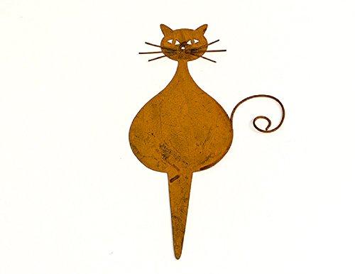 Topfstecker Katze Metall Rost braun H19B11cm