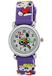 TimerMall Kid Snoopy Cartoon 3D Strap Purple Watchband White Dial Waterproof Analogue Quartz Watches