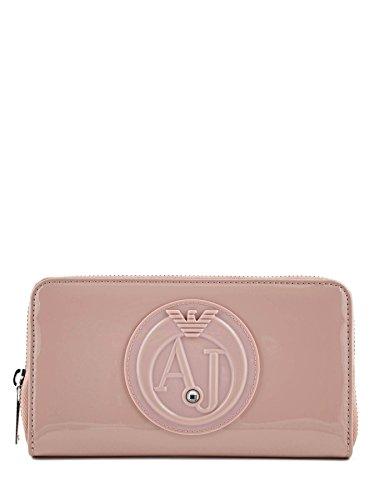 Portefeuille vernis avec emplacement portemonnaie et 6 emplacements CB de chez Armani Jeans ROSA ANTICO