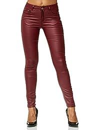 34f1e8276f63 ArizonaShopping Damen Treggings Hose Leder Optik Kunstleder Hose Skinny  Stretch Röhre D2476