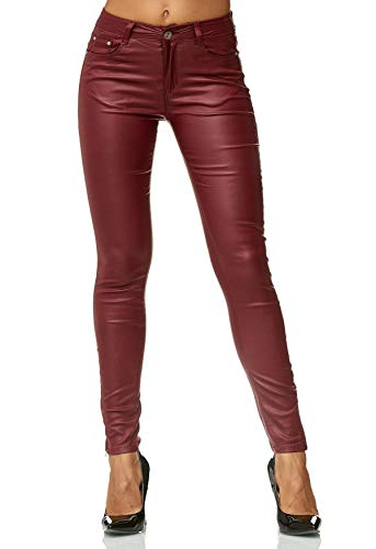 ArizonaShopping Damen Treggings Hose Leder Optik Kunstleder Hose Skinny Stretch Röhre D2476, Farben:Rot, Größe Damen:42