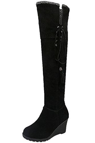 Botas largas Mujer Casual Cordones Otoño Invierno Cuña Cómodo Cálidas Rodilla Botas Altas De BIGTREE Negro 41 EU