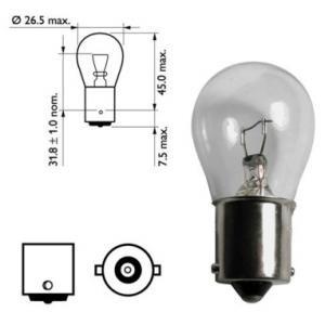 1x Autolampe P21W/ 21W / 12V/ BA15s