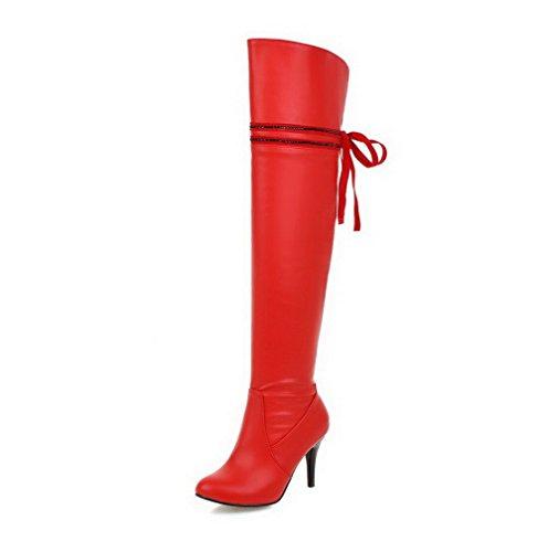 VogueZone009 Damen Eingelegt Reißverschluss Stiefel mit Beschlagene Strass, Cremefarben, 42