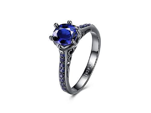 Moda rotonda anello di diamanti anello in oro placcato con diamanti per le donne nuovi gioielli di moda (nero + blu) anello da donna