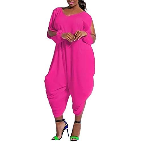 Btruely Damen Jumpsuit V-Ausschnitt Lang Playsuit Sommer Overall Groß Größe Romper Elegant Sommerkleidung Loose Fit Hosen