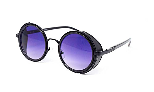 Ultra Black frame with Purple Lenses Steampunk Sunglasses 50s Round Glasses with UV400 Protection Available in Gold Silver Brown Blue Mirrored Leopard Print and Tea Copper Cyber Goggles Rave Goth Vintage steampunk buy now online
