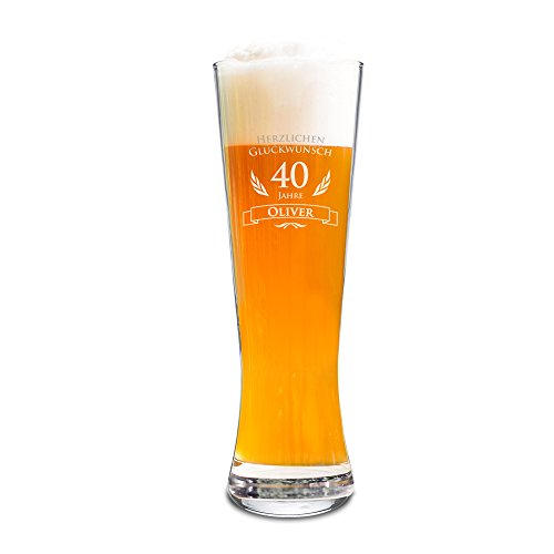 AMAVEL Weizenbierglas mit Gravur zum 40. Geburtstag - Personalisiert mit Namen - 0,5l Bierglas ? individuelles Weizenglas als Geburtstagsgeschenk für Männer ? Geburtstags-Geschenk-Idee