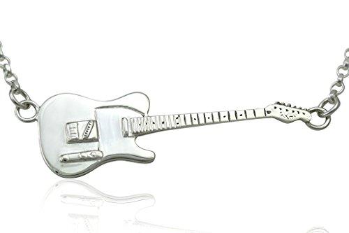 Groß Sterling Silber Rick Parfitt Tribute Fender Telecaster E-Gitarre Anhänger & Halskette 925 (Ring Gold Rolling)