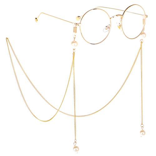 Fauhsto Brillenketten für Damen,Glasses Chain,Lesebrillen Perlen Brillen Cord Brillenbänder,Brille Kette Sonnebrillen Brille Cords Hals Cord Silikon Antirutsch Ringe