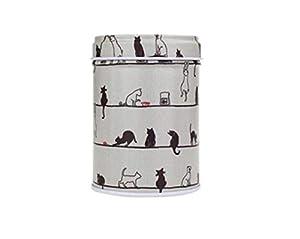 Whyyudan Stockage de thé utile Mini boîtes portatives de stockage de sucre de thé de bidon de thé de boîte de fer-blanc portatif (chat)