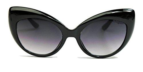 50er 60er Jahre Damen Retro Sonnenbrille Cat Eye Katzenaugen oversized schwarz