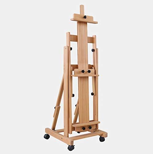 DJSMdjhj Kunst-Staffelei aus Buchenholz, horizontale und vertikale Mehrzwecktafel mit 4 Rädern, verstellbare Staffelei für Studio-Künstler, Verschiedene Größen