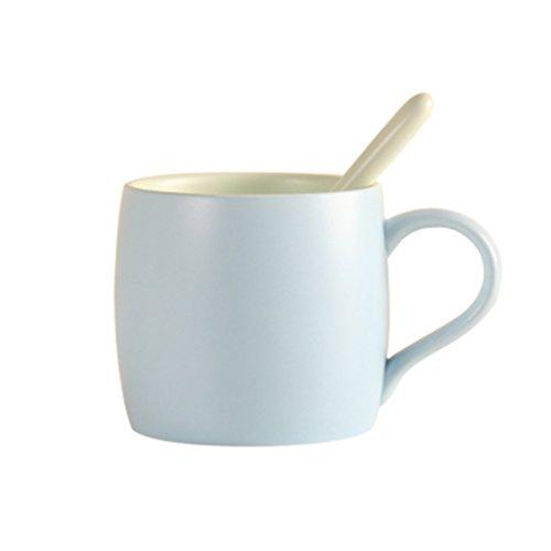 Tassen & Untertassen Tassen- & Untertassensets Keramik Macarons Scrub Cup mit Löffel Set Kaffee Volumen 15 Unzen Tumbler (Color : Blue) (Espresso-finish Matt)