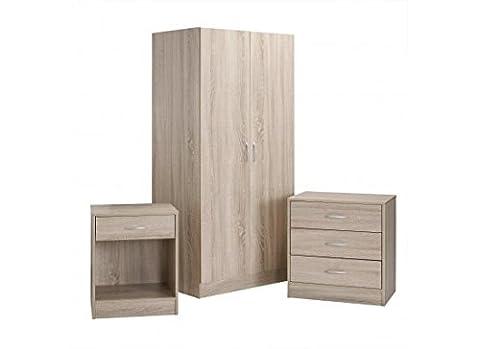 Delta Oak Bedroom Furniture Set - Wardrobe, Chest of Drawers, Bedside Cabinet
