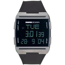 Momodesign 600000550 - Reloj analógico de caballero de cuarzo con correa de goma negra - sumergible a 30 metros