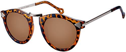 La Optica B.L.M. UV400 CAT 3 CE Damen Sonnenbrille Rund ohne Nasensteg - Glänzend Leo (Gläser: Braun)_LO15 Br B-Brown