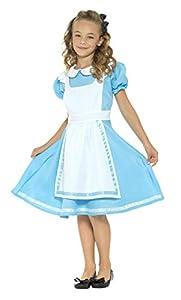 Smiffys-45962S Disfraz País de Las Maravillas, con Vestido, Delantal Cosido y Diadema, Color Azul, S - Edad 4-6 años (Smiffy