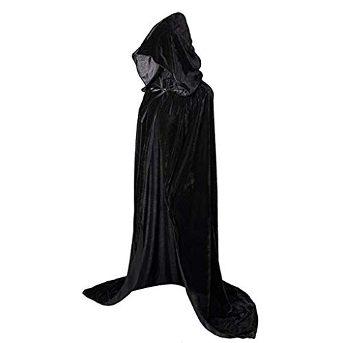 LOPILY Umhang Kleid mit Kapuze Vintage Wasserfall Samtumhang Cape Vampir Kostüm Halloween Damen Cosplay Umhang Prop für Weihnachten Masquerade Mittelalter Bekleidung Karneval Kostüme (Schwarz, 36)
