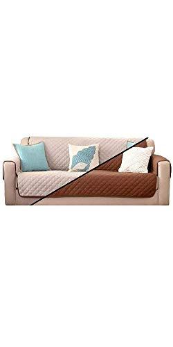 Sofa Saver, Copridivano Impermeabile da 3 Posti, Double Face Antiscivolo e Antigraffio, Protegge da Polvere e Macchie Divani e Poltrone, Colori Marrone e Beige