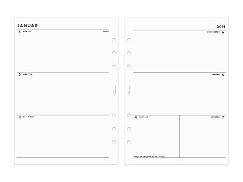 2018 A5 Kalender Einlagen 1W/2S - simple - s/w