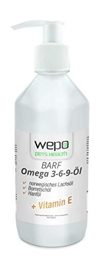 WEPO 3-6-9 Barf Öl für Hunde in Premium-Qualität - 100% natürliches Omega 3 6 9 Öl (mit norwegischem Lachsöl, Hanföl, Leinöl, Borretschöl und Vitamin E) für Fell, Haut und Haar