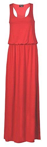 Toge à dos nageur pour femme Dos nageur Débardeur Long Puff Ball Ballon Maxi robe Rouge - Corail