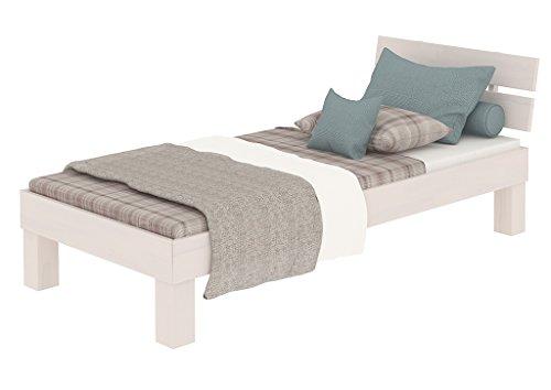 Erst-Holz® Massivholzbett in Überlänge 90x220 Buche Holzbett waschweiß mit Rollrost 60.86-09-220 W