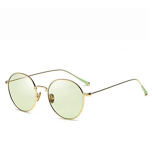 Einfache Brille Metallrahmen Unisex Aviator Sonnenbrille gespiegelte polarisierte Linse (Farbe : Grün, Größe : Casual Size)