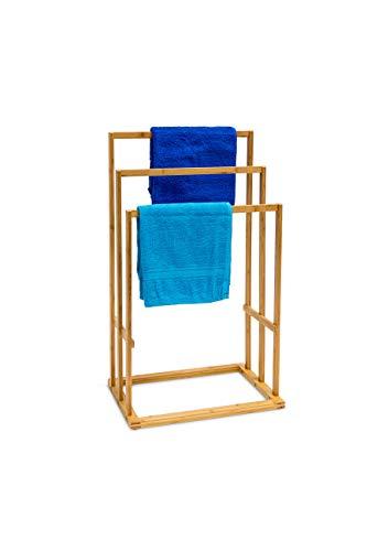 Relaxdays Bambus Handtuchhalter 40 x 24,5 x 82 cm Handtuchständer Handtuchstangen Badetuchhalter Stummer Diener - Freistehender Wäscheständer
