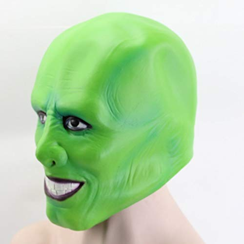 Gnhyll Halloween The Jim Carrey Movies Mask Cosplay Green Mask Costume Adult Fancy Dress Face Halloween Masquerade Party (Scary Movie High Maske)